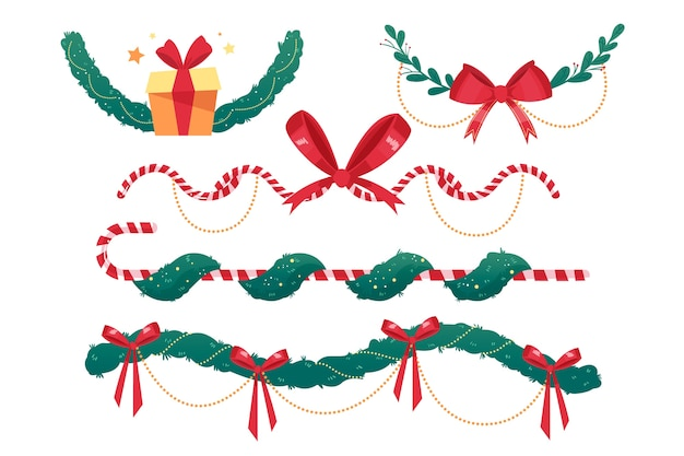 Hand drawn christmas frames and borders Free Vector