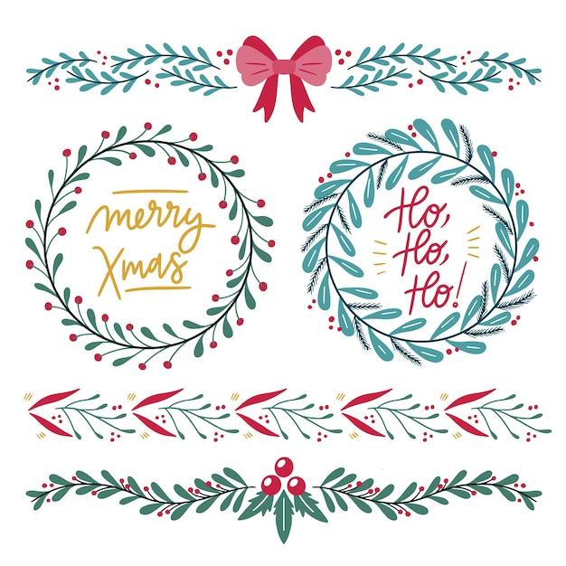 Hand-drawn christmas frames and borders Free Vector
