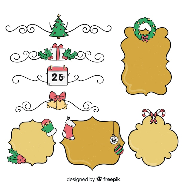 Hand drawn christmas frames pack Vector | Free Download