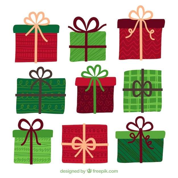 Hand drawn christmas gifts in red and green Vector   Free Download