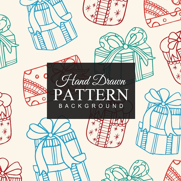 Hand Drawn Christmas Gifts Pattern Free Vector
