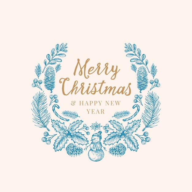 Hand drawn christmas greetings sketch wreath, banner or card template. Free Vector