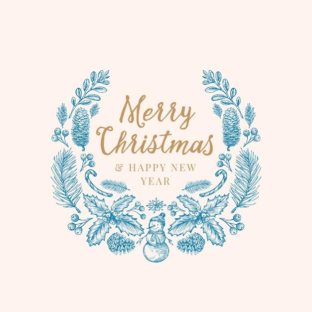 Рука нарисованные рождественские поздравления эскиз венок, баннер или шаблон карты. Бесплатные векторы