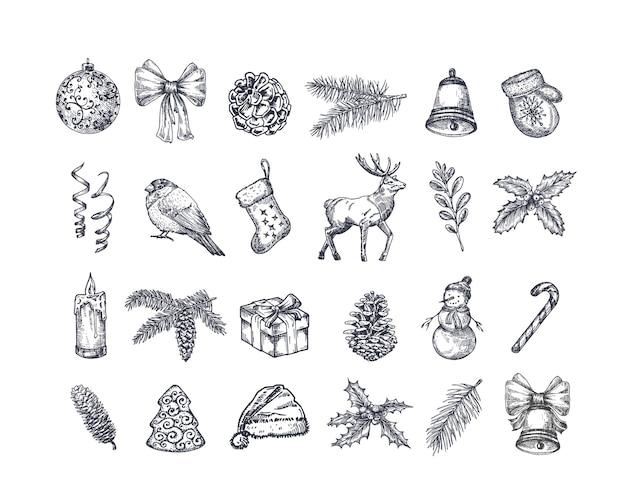 Набор рисованной рождественские иконки. Бесплатные векторы