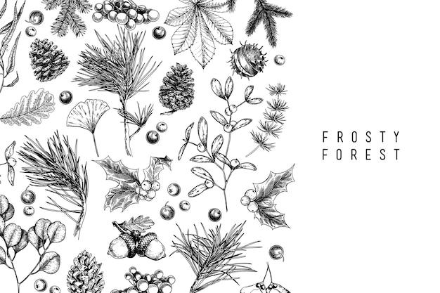 Hand drawn christmas illustration. Premium Vector
