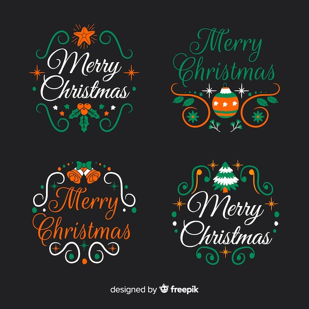 Hand drawn christmas label and badge collection on black background Free Vector
