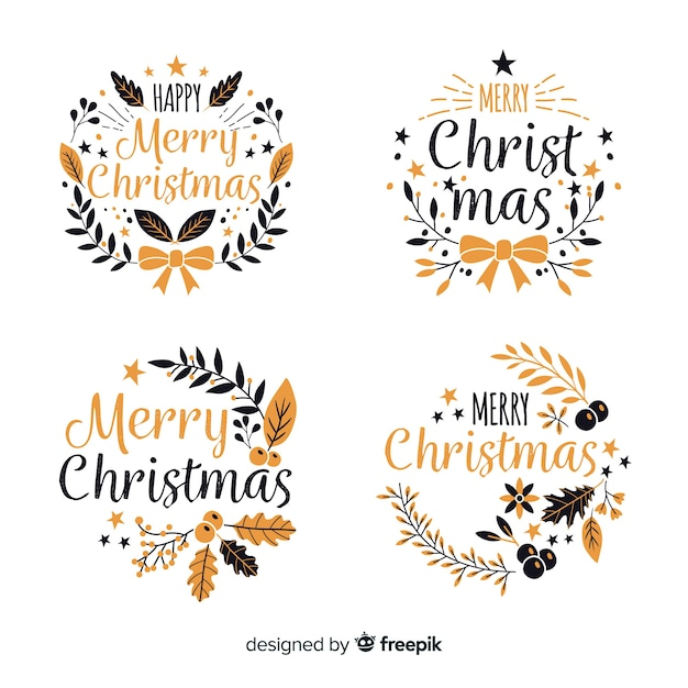 Hand drawn christmas label and badge collection on white background Free Vector