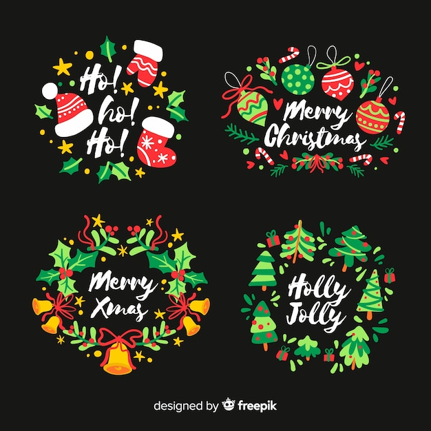 Hand drawn christmas label on black background Free Vector