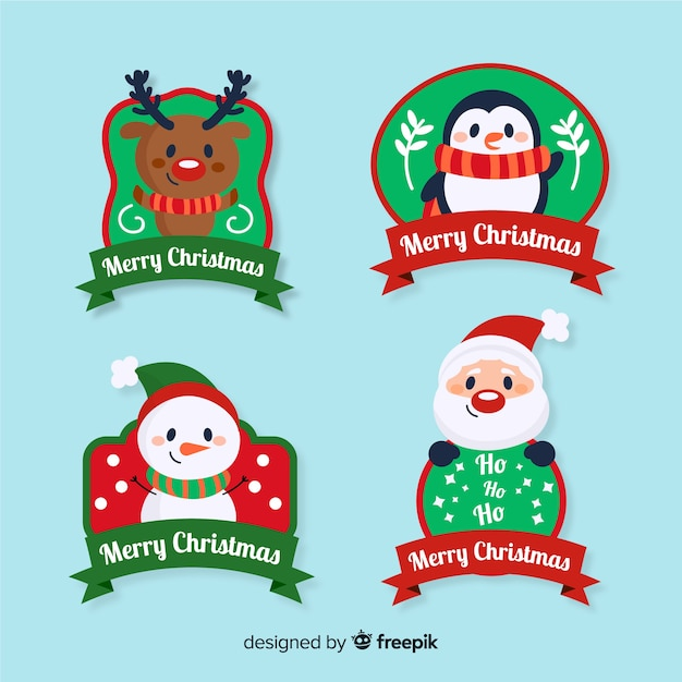 Hand drawn christmas label collection Free Vector