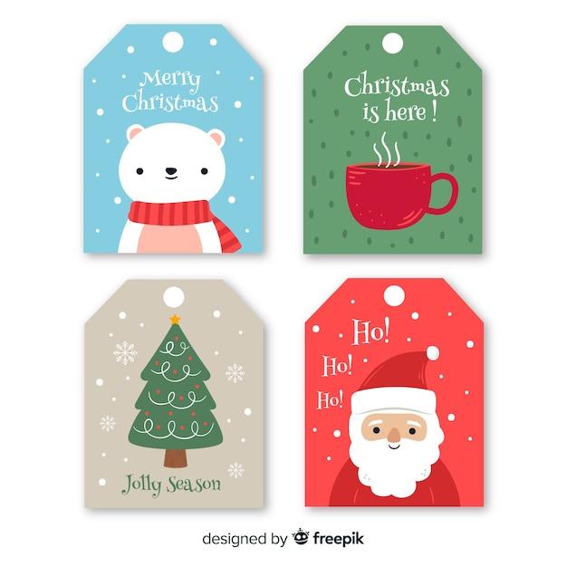 Рисованной рождественская коллекция этикеток Бесплатные векторы
