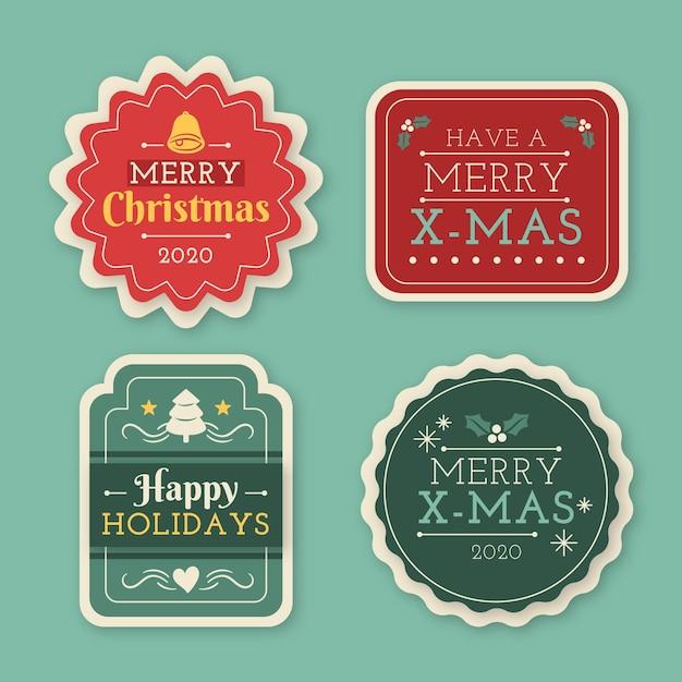 Collezione di etichette natalizie disegnate a mano Vettore gratuito