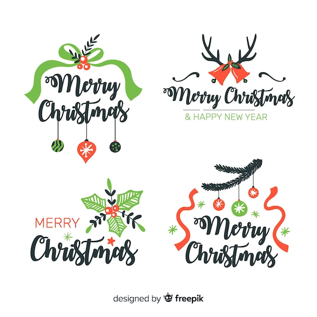 Hand drawn christmas labels with ribbons Free Vector