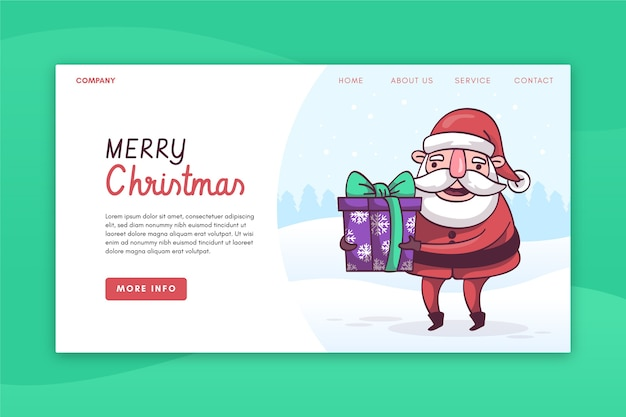 Hand drawn christmas landing page template Free Vector