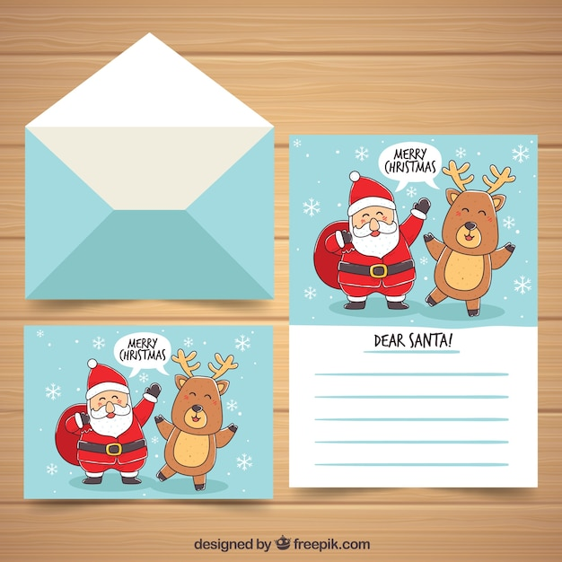 Hand drawn christmas letter template with santa claus and a reindeer ...