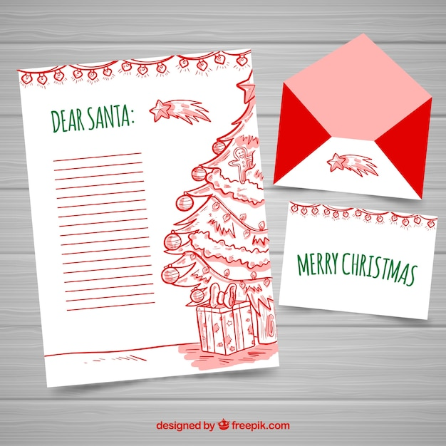 Hand Drawn Christmas Letter Template Vector Free Download