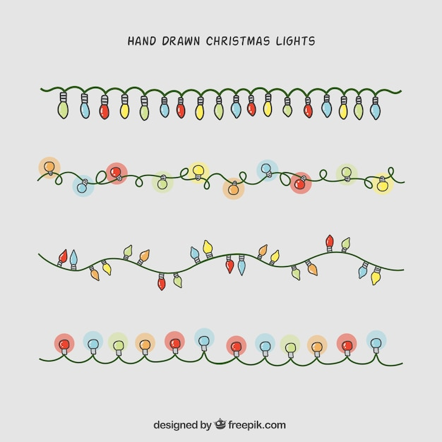 Christmas Lights Vector Free.Hand Drawn Christmas Lights Collection Vector Free Download
