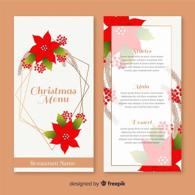 Ручной обращается шаблон меню рождество с цветами Бесплатные векторы