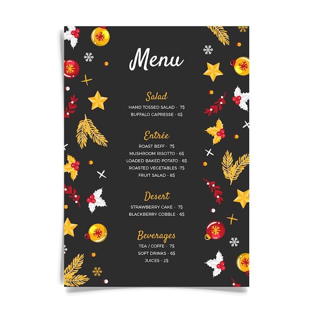 Hand drawn christmas menu template Free Vector