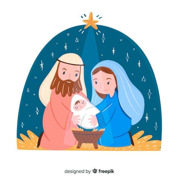 Hand drawn christmas nativity scene Free Vector