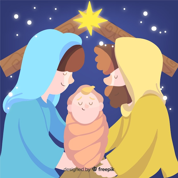 Hand drawn christmas nativity scene Free Vector