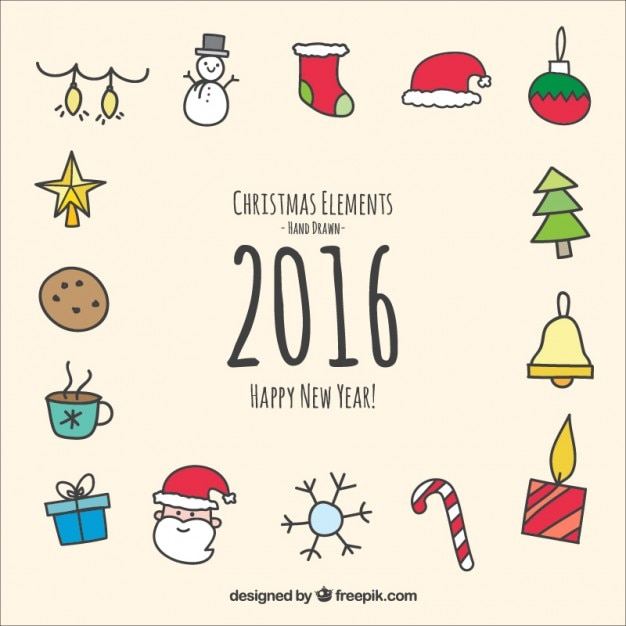 Hand drawn christmas and new year elements Free Vector