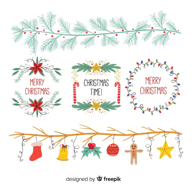 Hand drawn christmas ornaments collection Free Vector