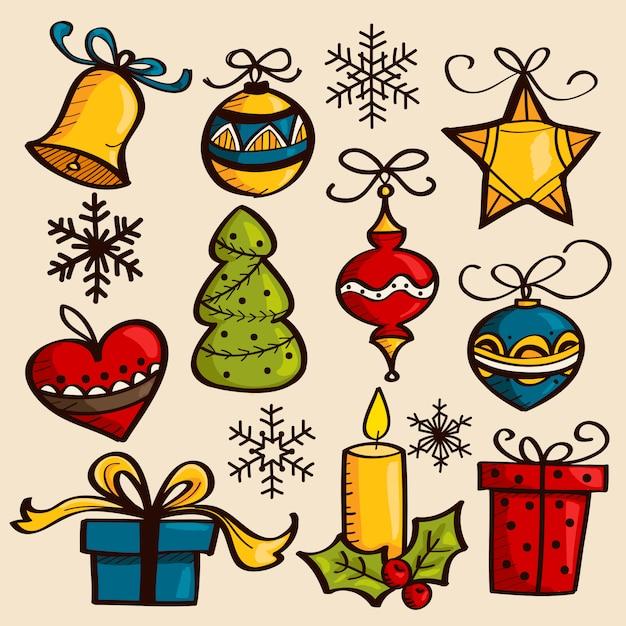Hand drawn christmas ornaments Premium Vector