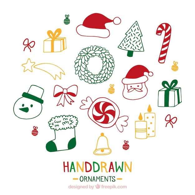 Hand Drawn Christmas Ornaments Vector Free Download