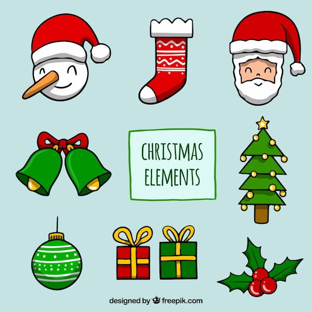 Hand drawn christmas ornaments Free Vector