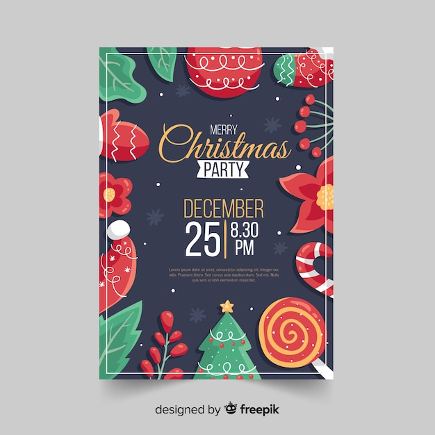 Hand drawn christmas party flyer template Free Vector