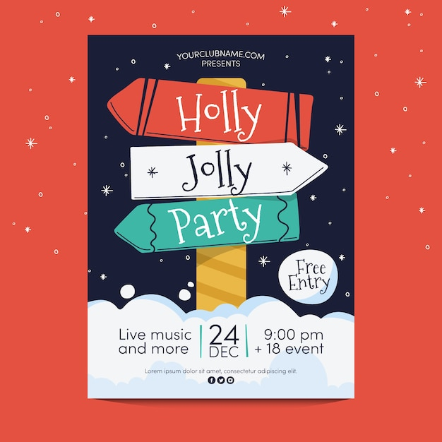 Hand drawn christmas party  poster template Free Vector