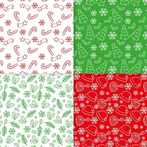 Collezione di modelli natalizi disegnati a mano Vettore gratuito