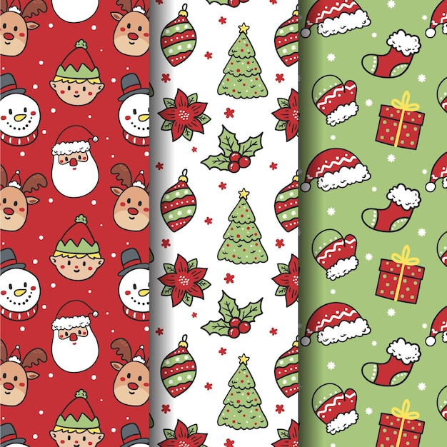 Hand drawn christmas pattern collection Free Vector