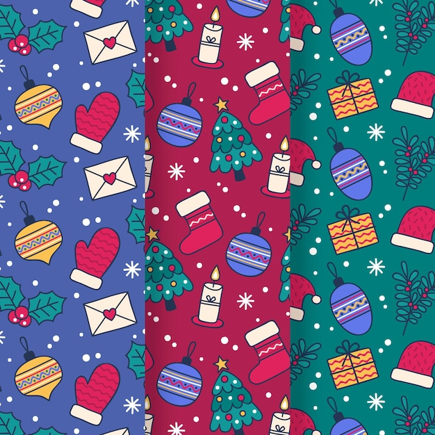 Hand drawn christmas pattern collection Premium Vector