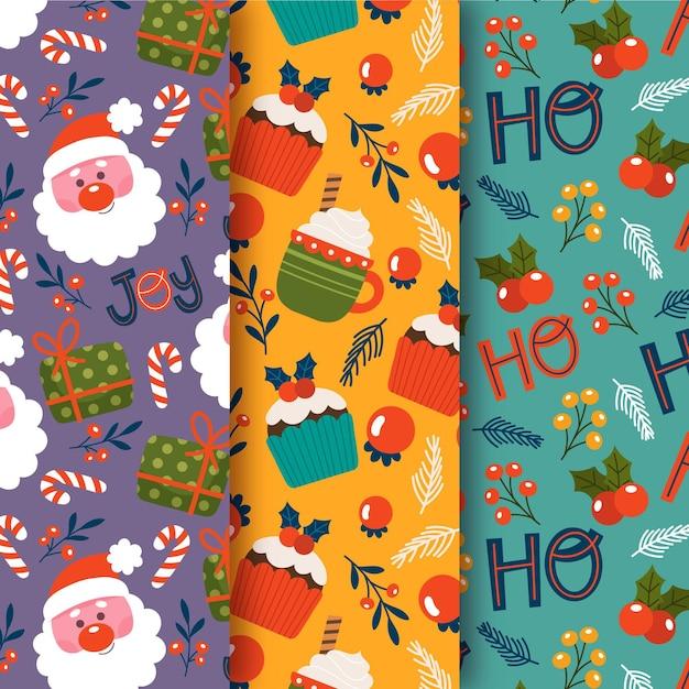 Коллекция рисованной рождественских узоров Бесплатные векторы