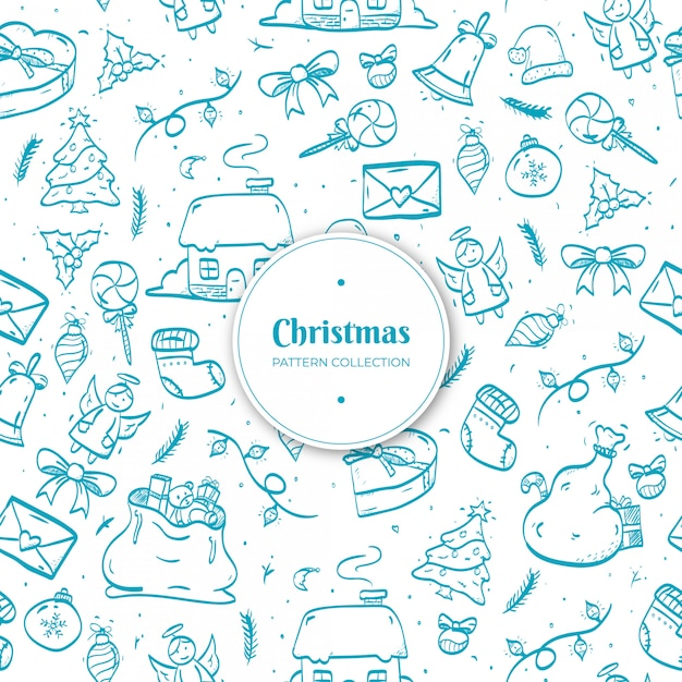 Hand drawn christmas pattern Free Vector