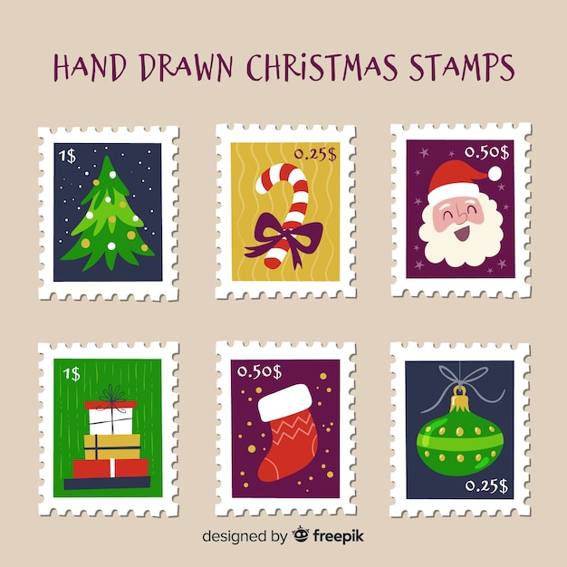 Hand drawn christmas post stamps Free Vector