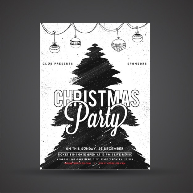 Hand-drawn christmas poster with tree and garlands Premium Vector