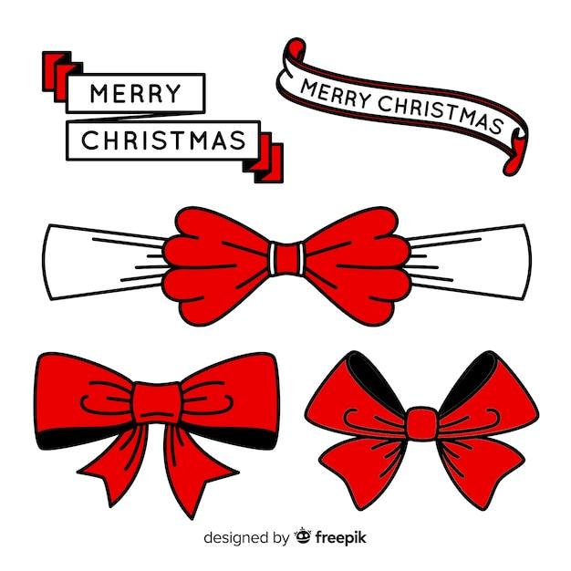 手描きクリスマスリボンコレクション 無料ベクター