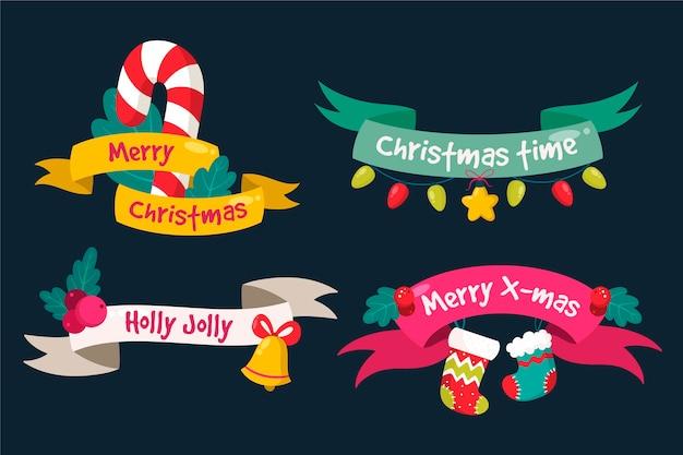 Коллекция рисованной рождественской ленты Premium векторы