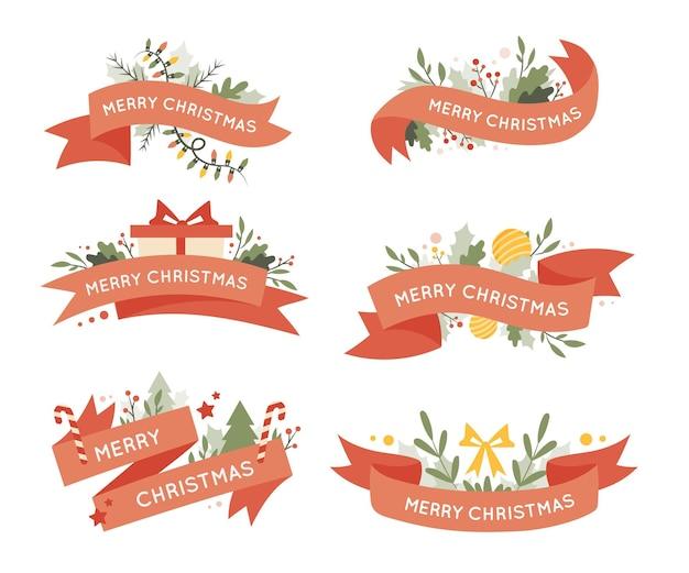 Коллекция рисованной рождественской ленты Бесплатные векторы