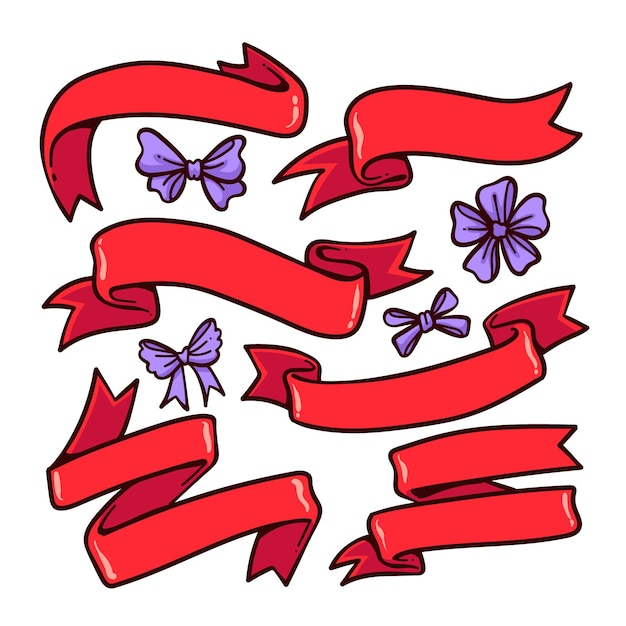 Hand drawn christmas ribbon collection Free Vector