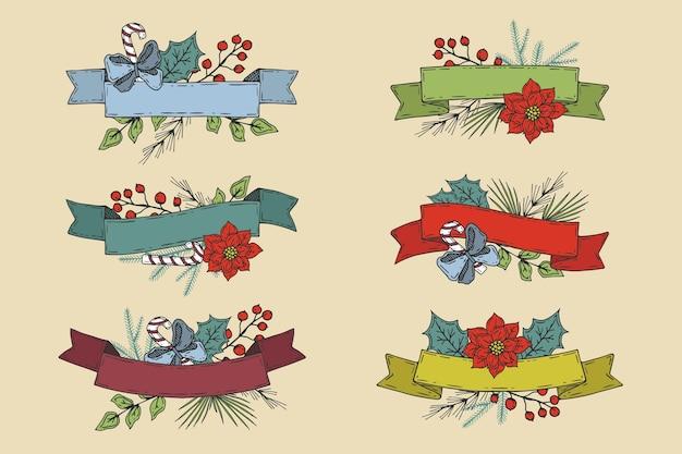 Collezione di nastri natalizi disegnati a mano Vettore gratuito