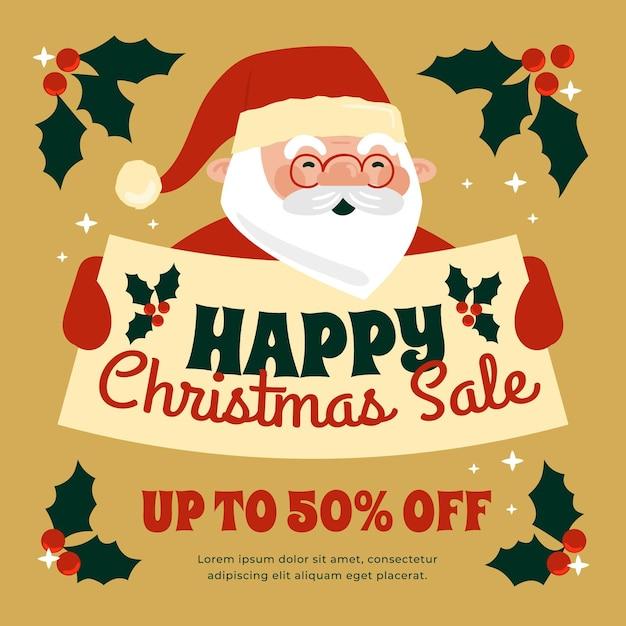 Hand drawn christmas sale banner with santa claus Premium Vector
