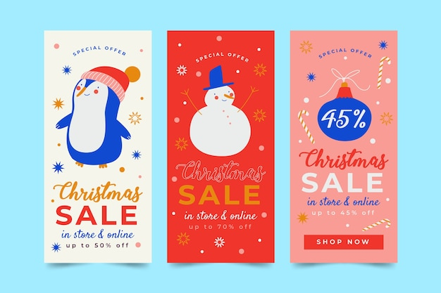 Hand drawn christmas sale banners template Free Vector