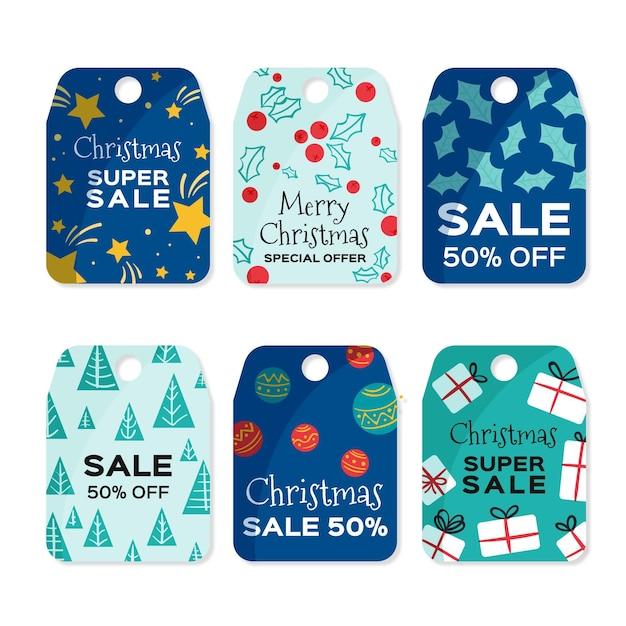 Нарисованные от руки рождественские предложения распродажи Бесплатные векторы