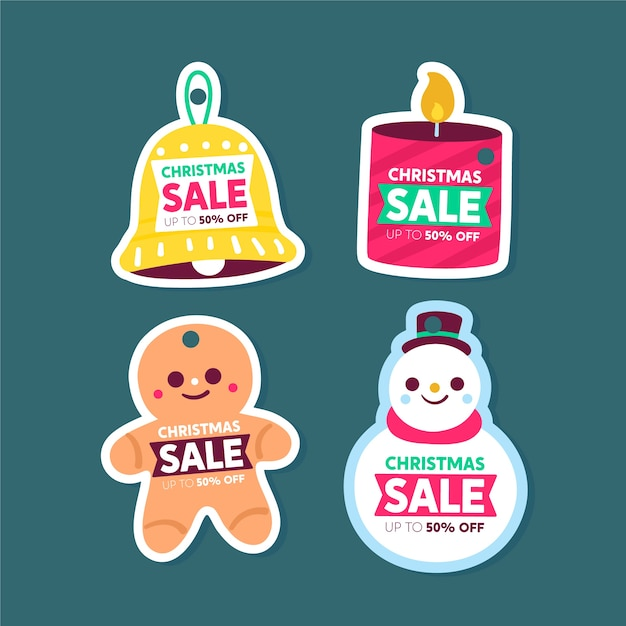 Hand drawn christmas sale tag collection Free Vector