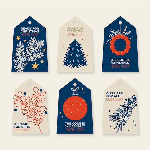 Коллекция рисованной рождественской распродажи Бесплатные векторы