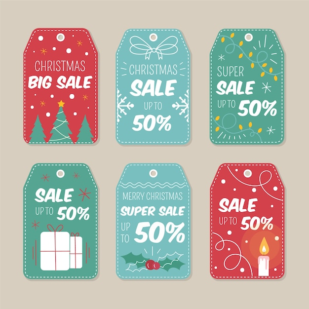 Hand drawn christmas sale tag pack Free Vector