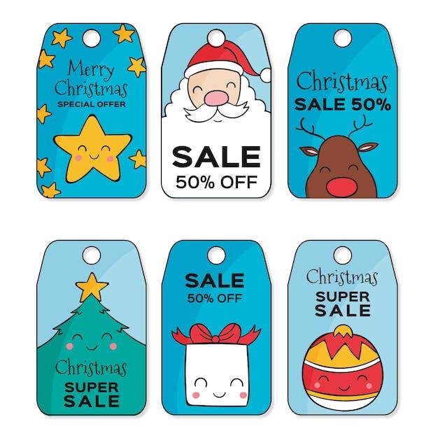 Набор рисованной рождественской распродажи Бесплатные векторы